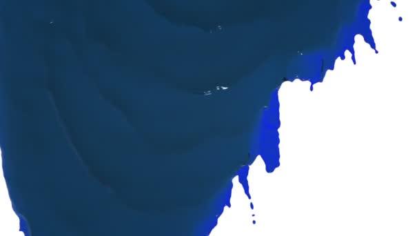Blaue Farbe fließt langsam herunter. Flüssigöl