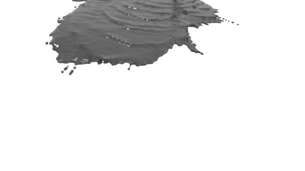 graue Flüssigkeit auf weißem Hintergrund. Farbige Farbe