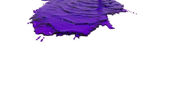 Violette Farbe ergießt sich in Zeitlupe auf Weiß. klare Flüssigkeit