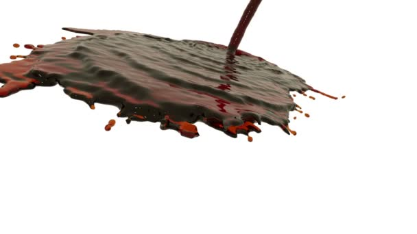 orange liquid flow covers a surface in slow motion. Colored oil