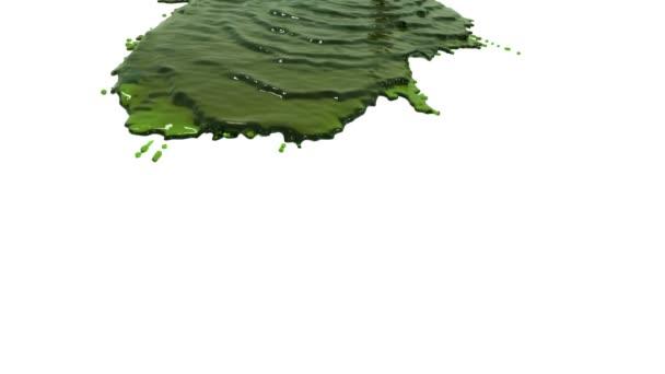 grüne Flüssigkeit auf weißem Hintergrund.. farbiges Öl