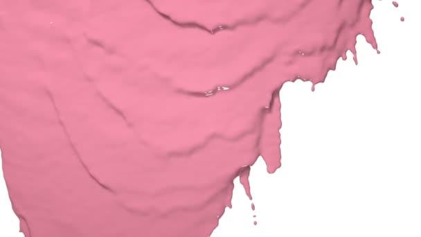 rote Farbe fließt in Zeitlupe herunter. Farbige Farbe
