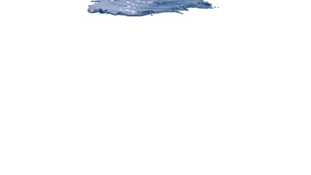 Blaue Farbe auf weißem Hintergrund. Saft
