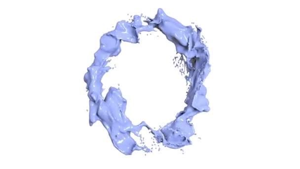 cerchio di liquido blu su sfondo bianco. Vernice colorata