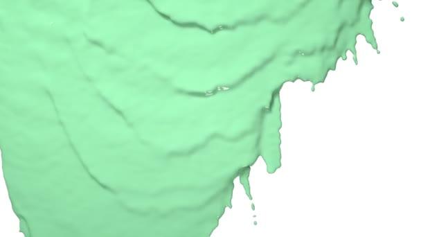 grüne Farbe fließt herunter. Farbige Farbe