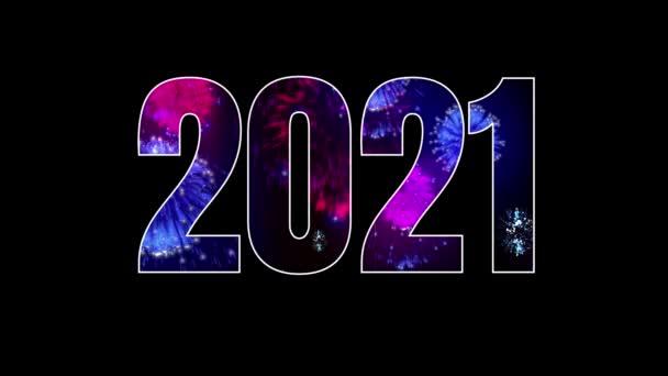 Feuerwerk ist durch den Schriftzug 2021 zu erkennen, leuchtend stilvoller festlicher Neujahrshintergrund