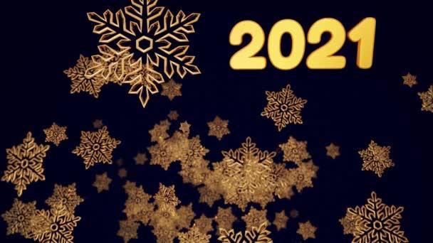 3d arany karácsonyi háttér felirattal 2021, bokeh és mélysége mező fényes játék hópelyhek lóg a levegőben gyönyörűen fényes a fényben. Gyönyörű 3D-s új év 4k