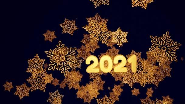 3D zlaté vánoční pozadí s nápisem 2021, bokeh a hloubka pole lesklých hraček sněhové vločky visí ve vzduchu krásně lesklé ve světle. Krásný 3D pro nový rok ve 4k