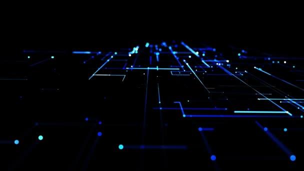 abstraktní smyčka pozadí jako technologický koncept s mnoha modrými čarami a uzly. Sci-fi bg zářivých částic tvoří vedení jako elektrický obvod nebo mikroobvod. Rozsvícená světla, zářící částice