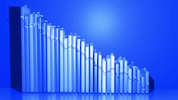Abstrakte Infografiken. Krise, Stagnation und Rezession. Grafik von Spalten herabstufen. Wirtschaftliche Schleife Hintergrund mit Copy-Space in 4k. Schöne 3D-Balken als Diagramm für statistische Daten in blau.