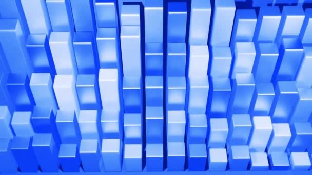 wiggling abstract columns as abstract looping background for analytical programs and news broadcasts. 3d geometric background as abstract infographics. Visualization of statistical data in blue.