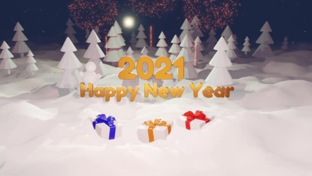 vánoční skladba se zlatým nápisem 2021 v zimním lese. Nový rok s ohňostrojem. Kreslený styl hraček. Vánoční přání v pohybu. Sněhobílá bg s novoroční dárky v popředí