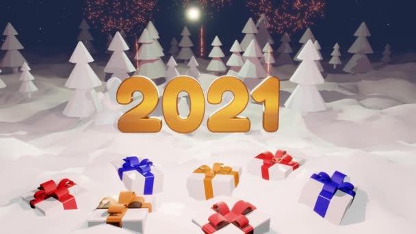 karácsonyi kompozíció arany betűkkel 2021 téli erdőben. Újévi mese tűzijátékkal. Rajzfilm játékstílus. Karácsonyi üdvözlőlap mozgásban. Hófehér bg szilveszteri ajándékokkal az előtérben