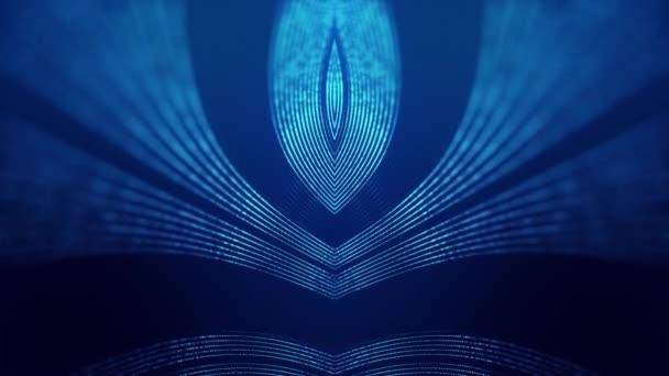 Sci-fi abstraktní téma se zrcadlovými vlnami částic. 4k smyčka abstraktní modré pozadí záře částice tvoří zakřivené čáry, povrchy simmetrické struktury. Digitální bg s hologramem částic.