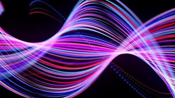 Světelné pruhy tvoří spirálu, bg za 4k. Abstraktní smyčkové pozadí se světelnými cestičkami, proud červeně modrých neonových čar ve vesmíru se pohybuje a vytváří smyčkové spirálové tvary. Moderní trendy motion design bg.