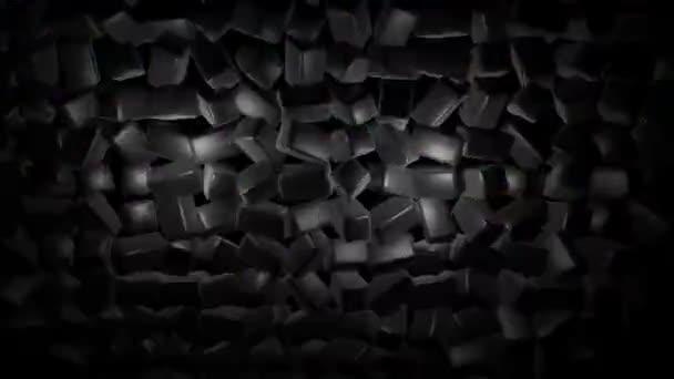 4k smyčkové geometrické pozadí s neonovým světlem, černé bloky jako žárovky s vícebarevným světlem. Krásné pozadí návrhu pohybu s jednoduchými geometrickými tvary a neonovým světlem. Smyčka VJ