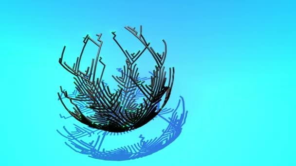 Ai növekvő geometriai minta vonalak alkotnak gömb. Épületmegoldás mesterséges intelligenciával vagy neurális hálózattal. 4k absztrakt fekete vezeték keret kék bg, ágak számítások, csomópontok és kereszteződések
