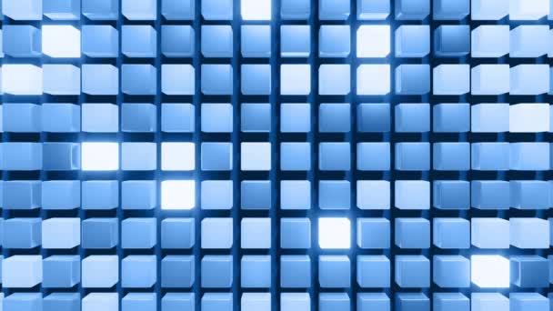 3D abstraktní tmavý geometrický bg s šedými kostkami záblesky s modrým neonovým světlem v 4k náhodně. Animace s hladkou smyčkou. Kostky tvoří rovnou strukturu. Tvůrčí jednoduchý design pohybu bg s 3D objekty