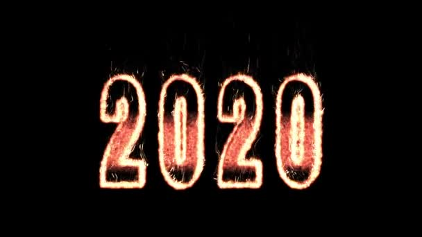 2020 plasma text from fire isolated in black