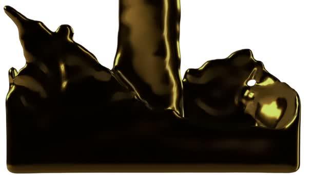 oro liquido fluisce nello schermo e riempie con canale alfa Full Hd