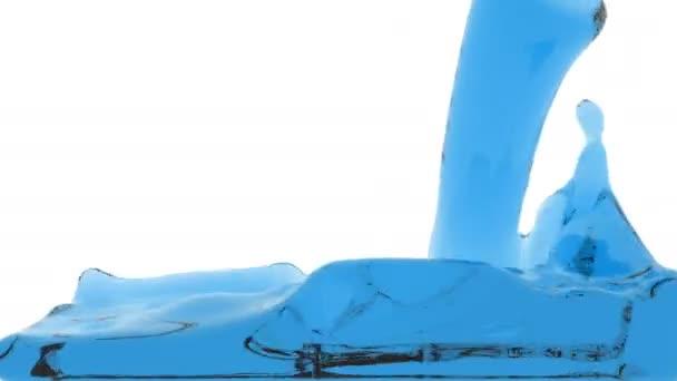 liquido trasparente blu riempie lo schermo, ha isolato su bianco full Hd