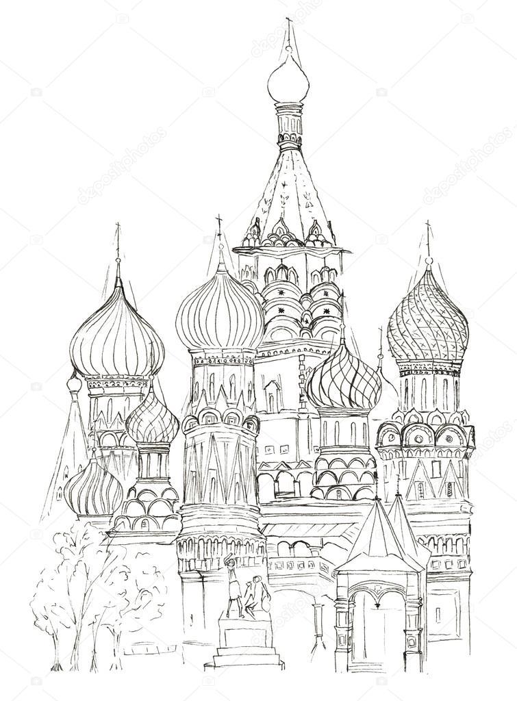 Skizze Roten Platz in Moskau St. Basil\'s Kirche isoliert — Stockfoto ...