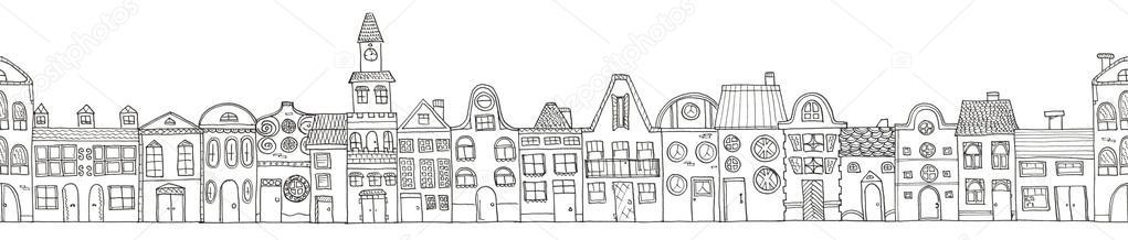Dibujos animados mano dibujo casas frontera aislado. Páginas para ...