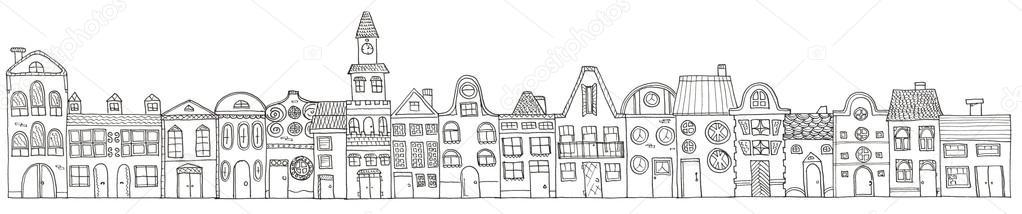 Imágenes: mano animadas para colorear | Dibujo casas de la ciudad ...