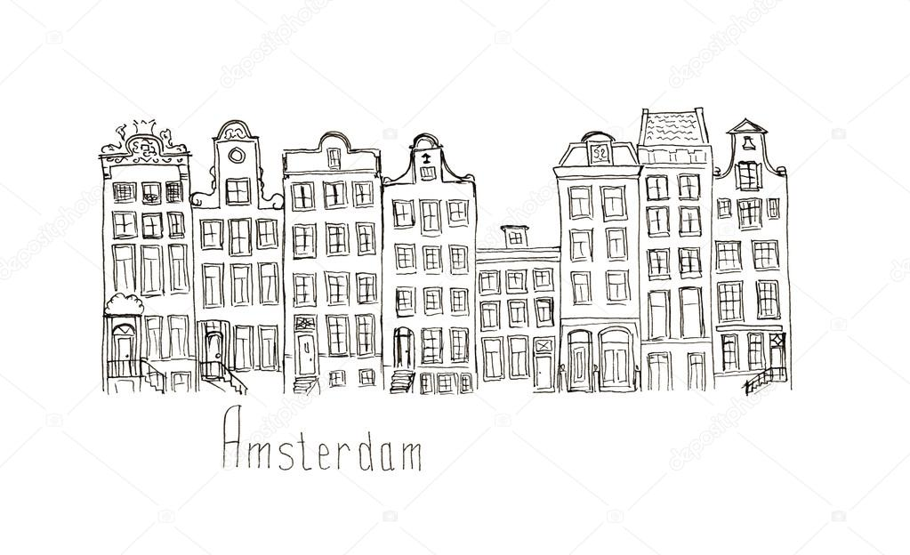 Skizze In Amsterdam Hauser Isoliert Schriftzug Stockfoto