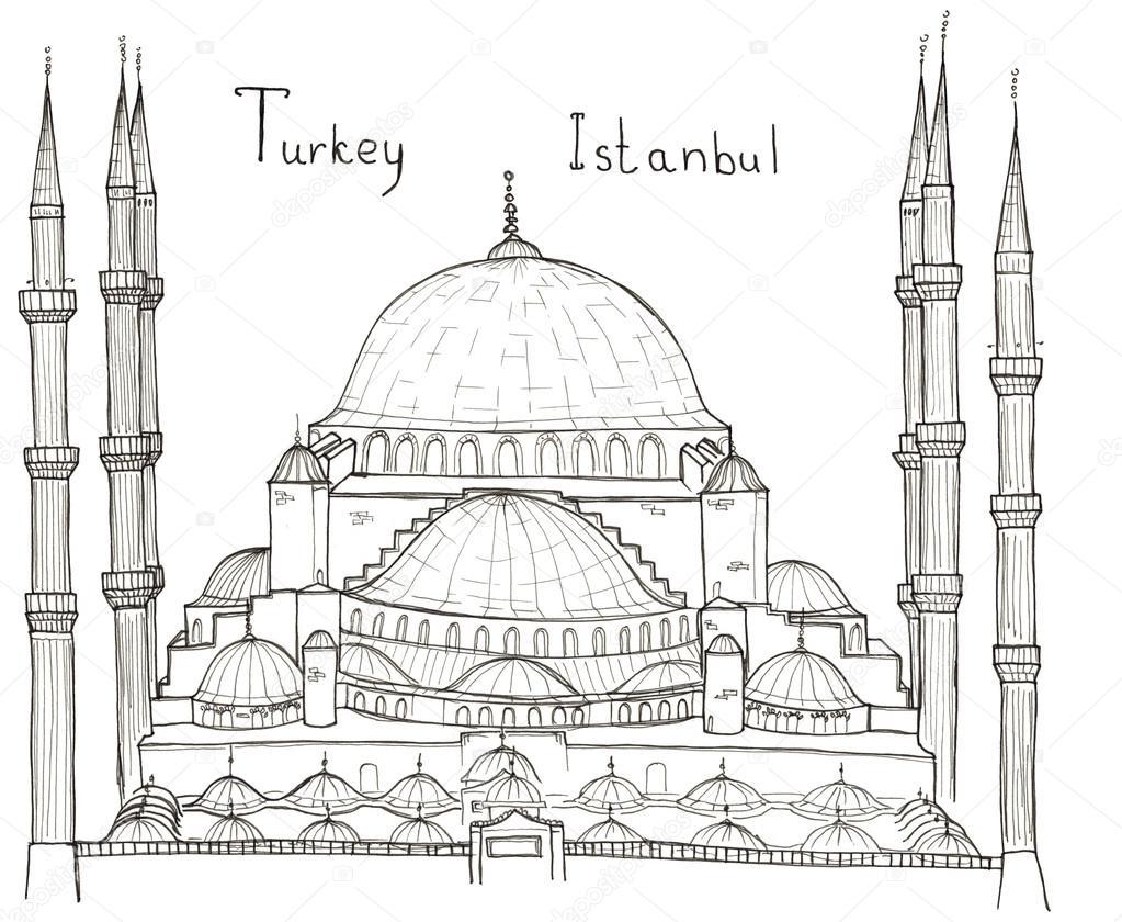 Croquis d'architecture dessiné main de Turquie Istanbul ...