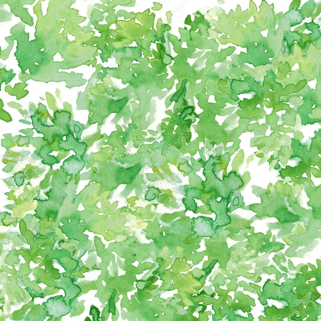 Watercolor Green Leaves Pattern Abstract Background Stock