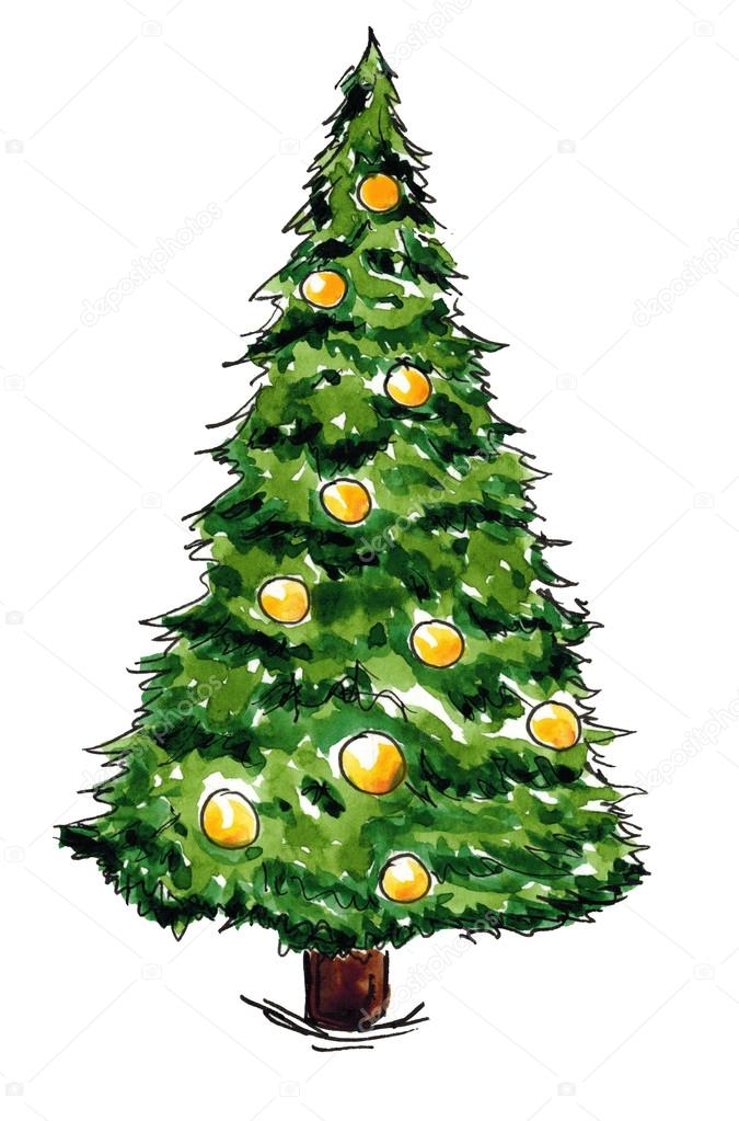rbol de Navidad de ao nuevo mano acuarela dibujo dibujado aislado