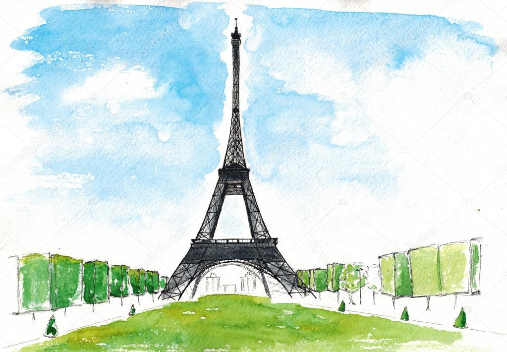 Torre Ifel En Dibujo: Imágenes: Acuarela Paris