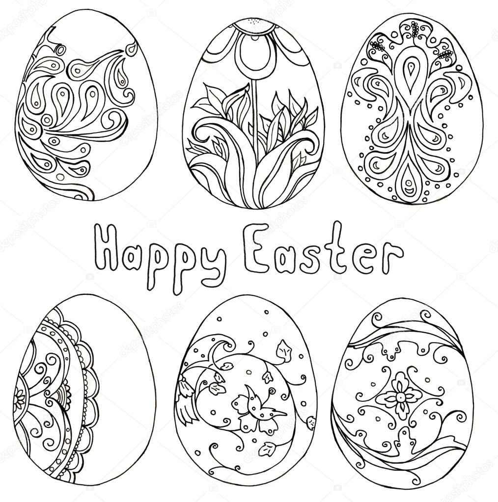 Hand drawn doodle easter eggs set with lettering Happy ...