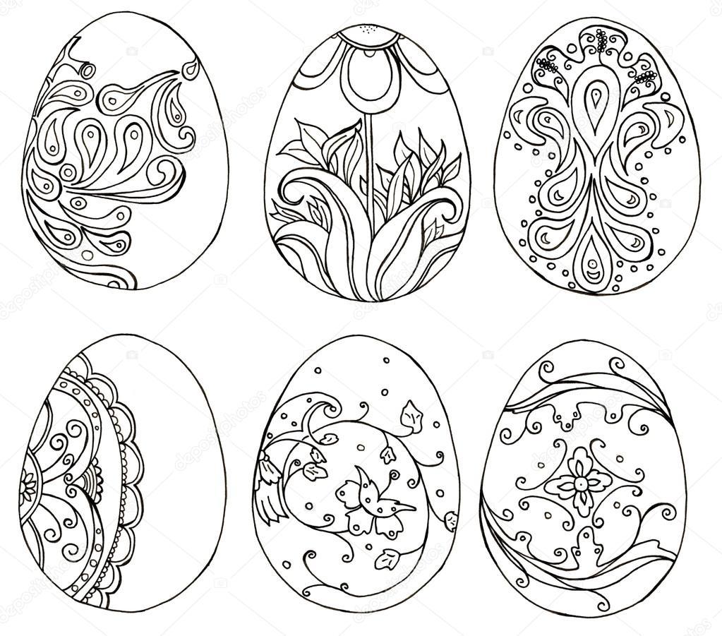 Conjunto de huevos de Pascua de doodle dibujado a mano. Libro para ...