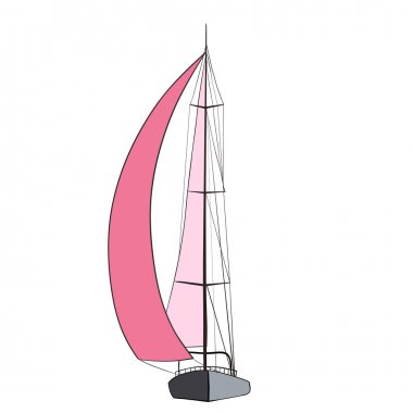 Sail Boat with black outline.
