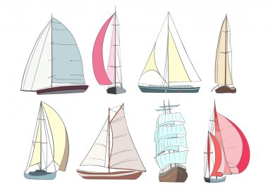 Set of boats with sails