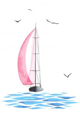 Boat with sails and seagulls