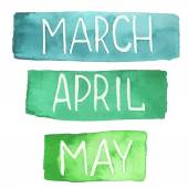 Photo Hand painted watercolor tablets with spring months