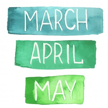 Hand painted watercolor tablets with spring months
