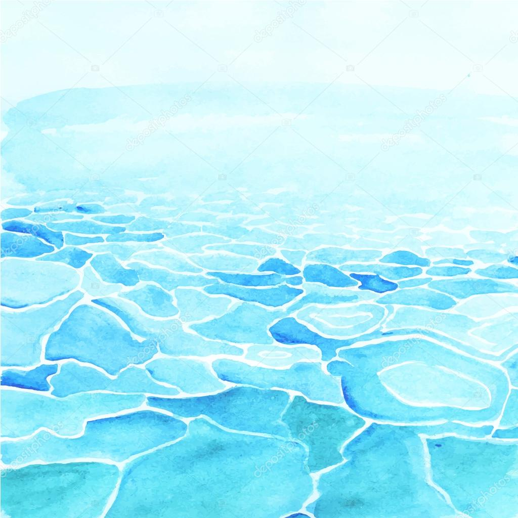 Watercolor sea background made in vector