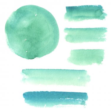Turquoise watercolor elements