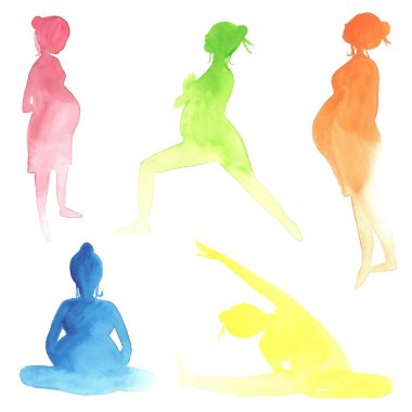 Watercolor pregnant women
