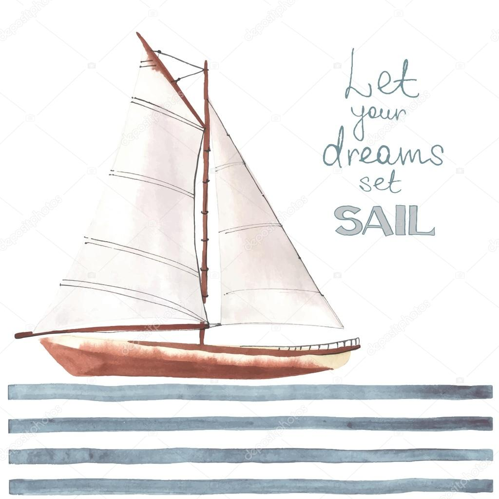 Watercolor boat with sails