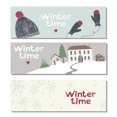 Set of three website horizontal winter banners