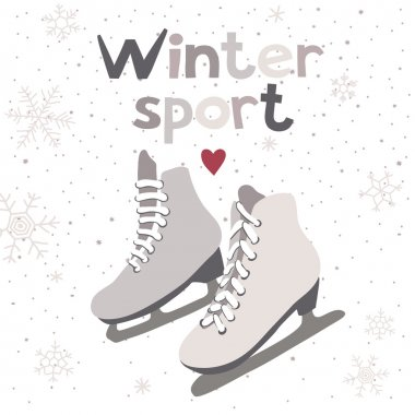 Winter vector card with ice skates
