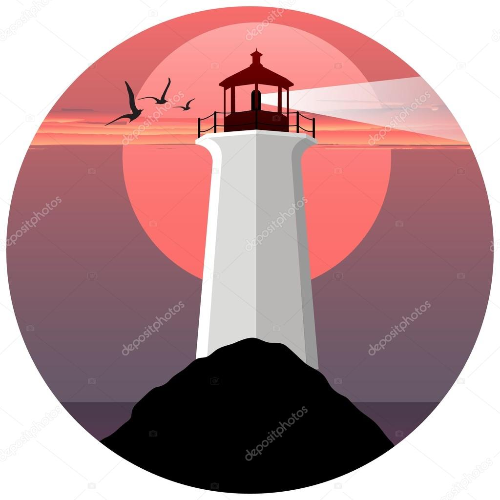 vector illustration of lighthouse on the sea. lighthouse on the background of the sun and birds. Lighthouse at sunset. Lighthouse at sunrise. Lighthouse logo.