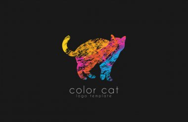 Cat logo. Color cat logo. Creative logo design. Animal logo.