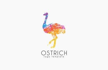 Ostrich logo design. Creative logo. Bird logo. Colorful logo. Animal logo.
