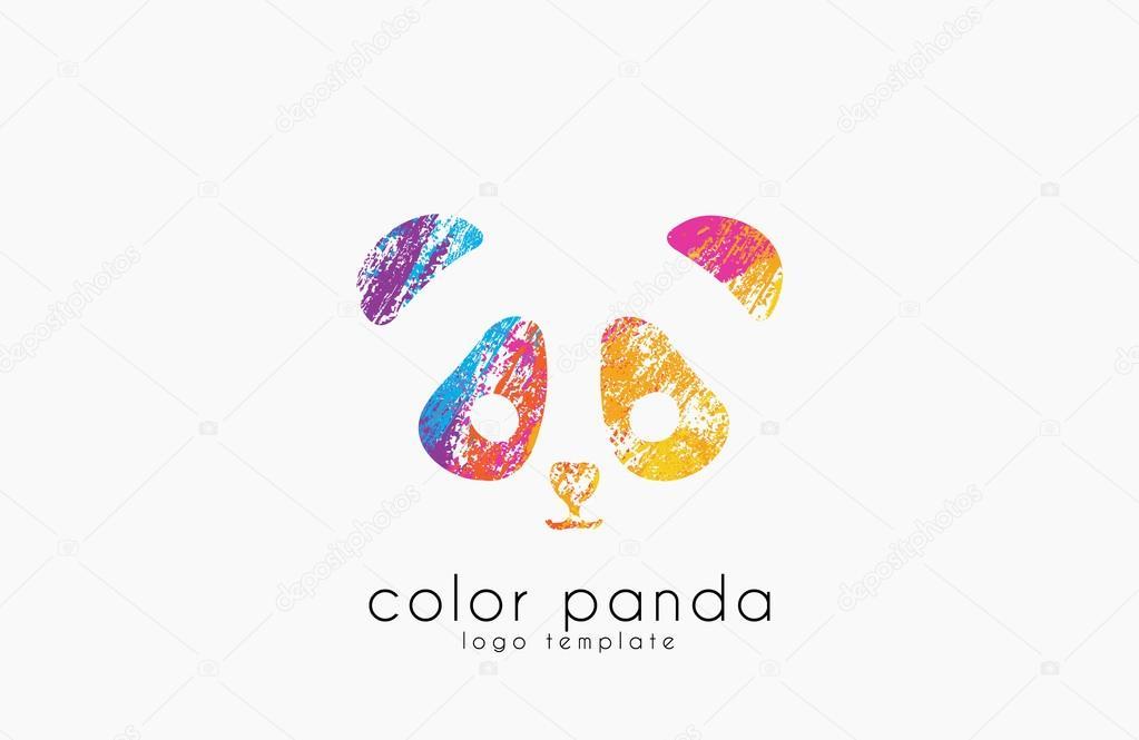 Panda Logo Ontwerp Kleur De Panda Dierlijke Lofo Creatieve Logo
